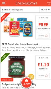 Saving Money On Your Online Grocery Shop - an example of online offers on the checkoutsmart app