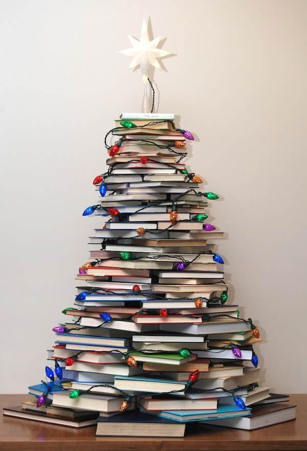 5 Easy Christmas Crafts to Save you Money- A Christmas Tree Made of Books
